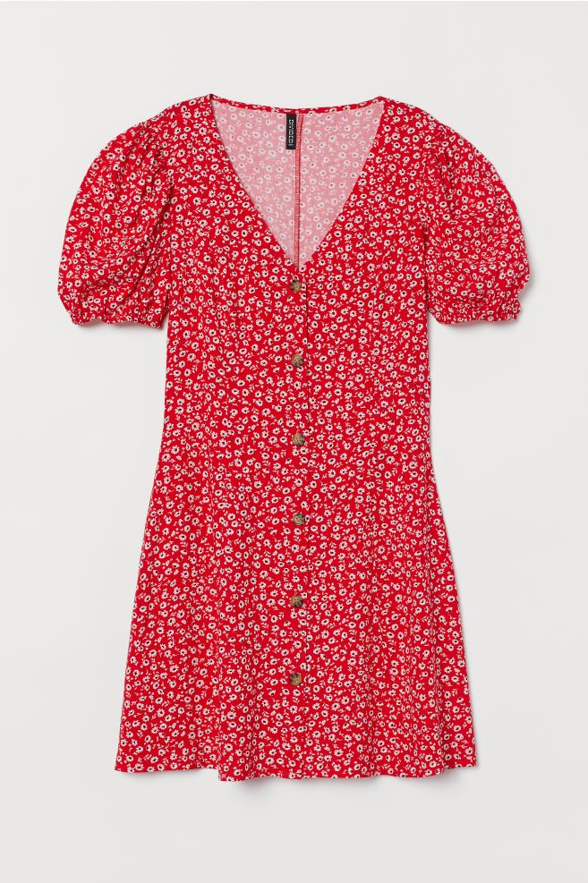 H&M Short Viscose Dress - Red/floral