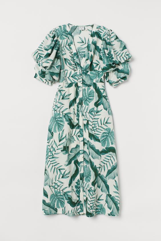 Johanna Ortiz x H&M Green Leaf print Linen-blend Dress