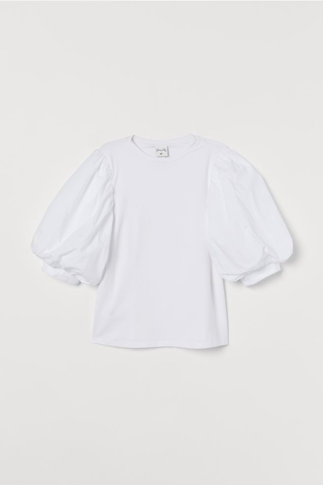Johanna Ortiz x H&M White Puff-sleeved Top