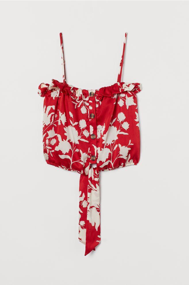 Johanna Ortiz x H&M Tie-hem Satin Blouse in red wild roses print