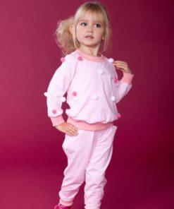 Дизайнерський бавовняний костюм для дівчинки з помпонами.