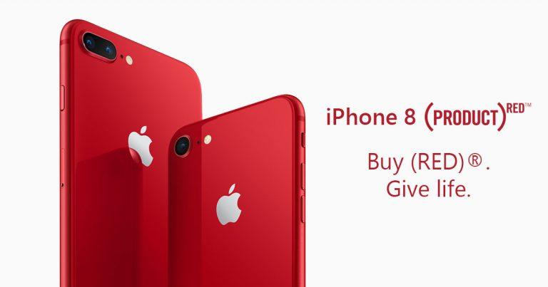 Apple推出Product(RED)特别版iPhone 8 和 iPhone 8 Plus