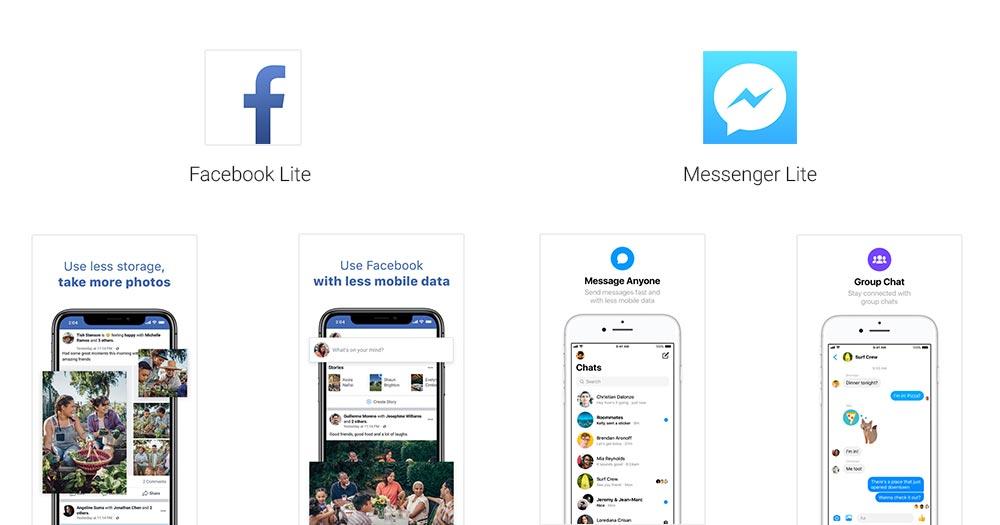 Facebook Lite及Messenger Lite在Apple App Store上架