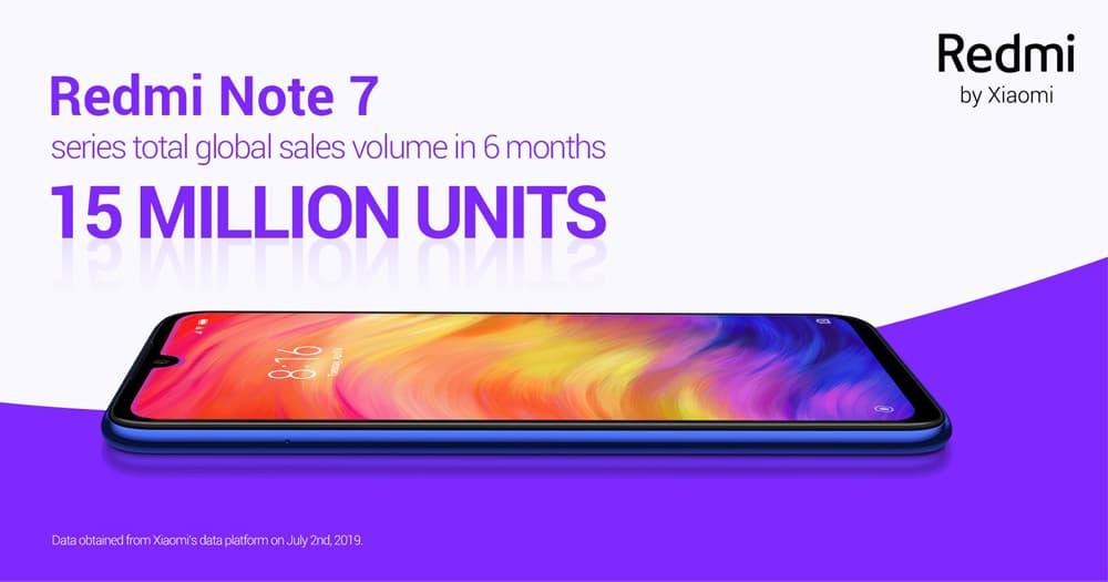 【更新:本地销售量】推出不到半年时间,Redmi Note 7 销量突破 1500 万台