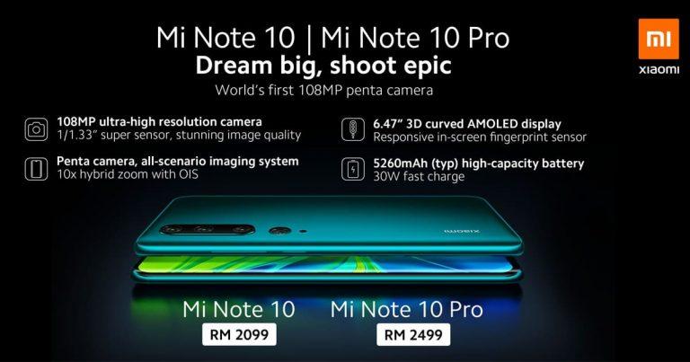 Xiaomi Note 10 定 12 月 7 日发售,RM2099 起!