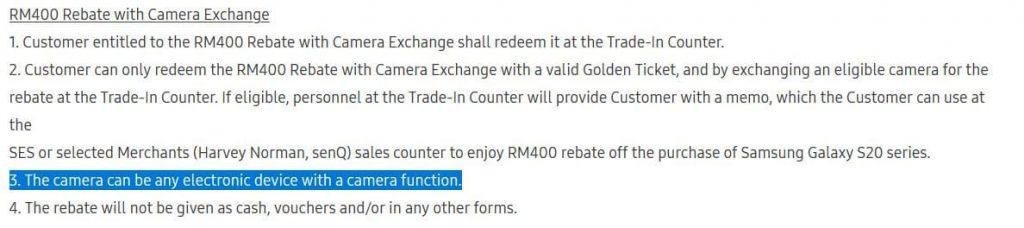 Samsung Galaxy S20 roadshow RM400 回扣条款