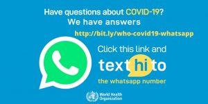 借由世界卫生组织 WHO 官方 WhatsApp 服务,获取 COVID-19 健康警报信息