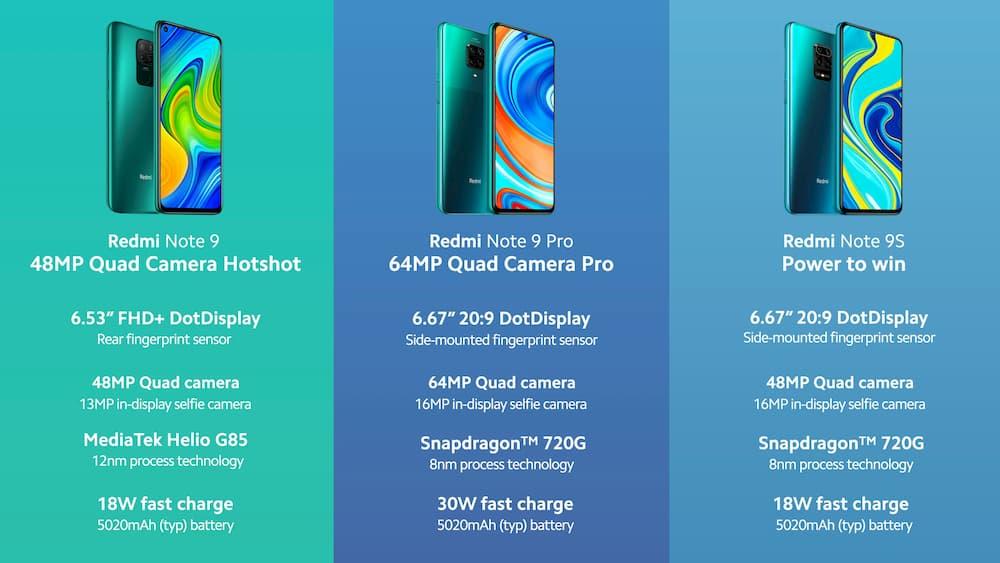 Redmi Note 9 系列手机对比
