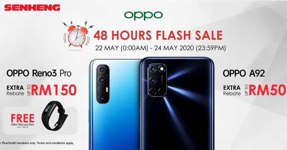 SenHeng 限时 48 小时优惠,OPPO Reno 3 Pro 折扣 RM150,还附赠智能手环