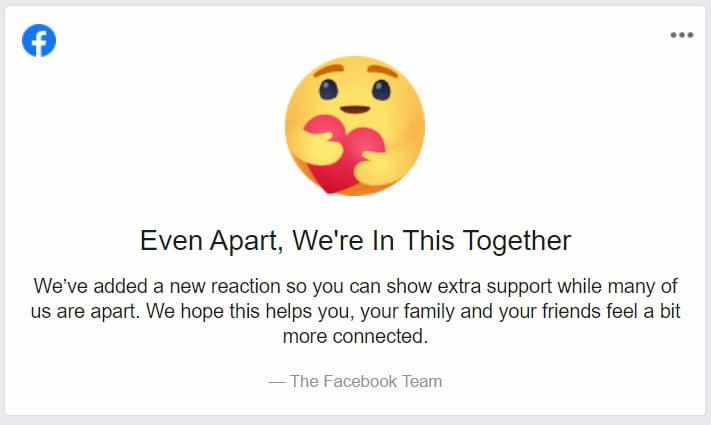 "Facebook 新增 ""Care"" 表情图案"