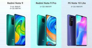 Redmi Note 9 / 9 Pro 及小米 Note 10 Lite 马来西亚发布,即日起开放预购,售价 RM649 起