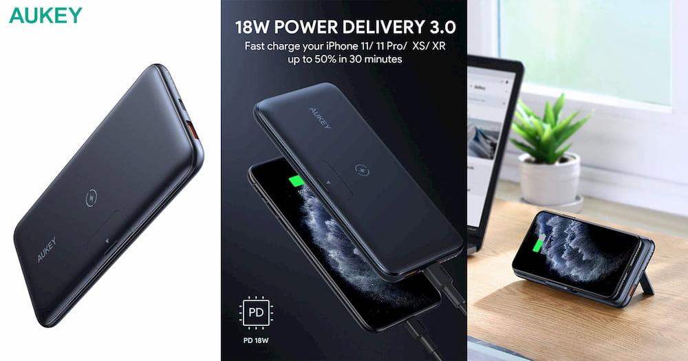 Aukey PB-WL02 移动电源不仅支持无线充电,还可秒变手机支架