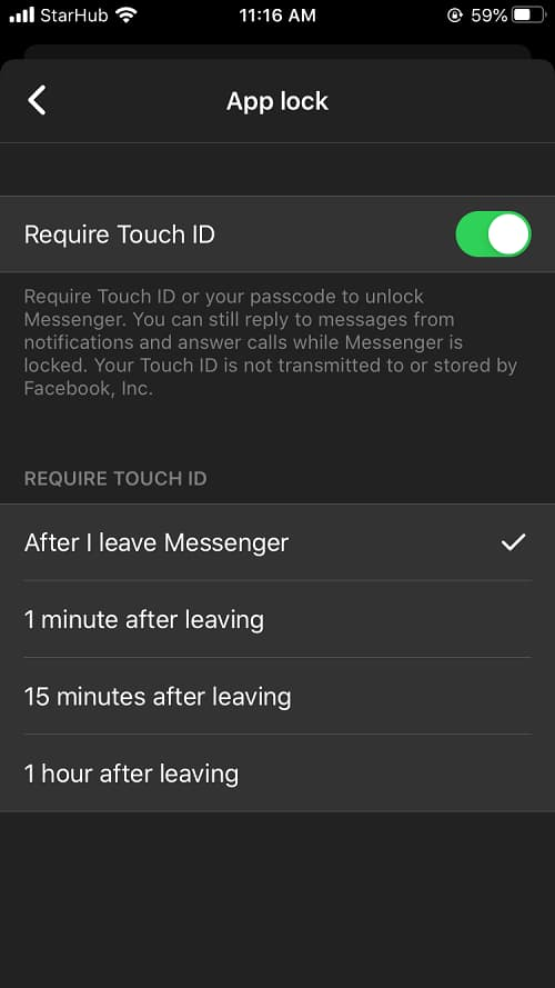 Facebook Messenger App Lock 使用 Touch ID 或是 Face ID 解锁