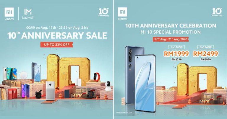 小米十周年促销:小米 10 折扣 RM800 仅 RM1999,部分产品优惠高达 33%