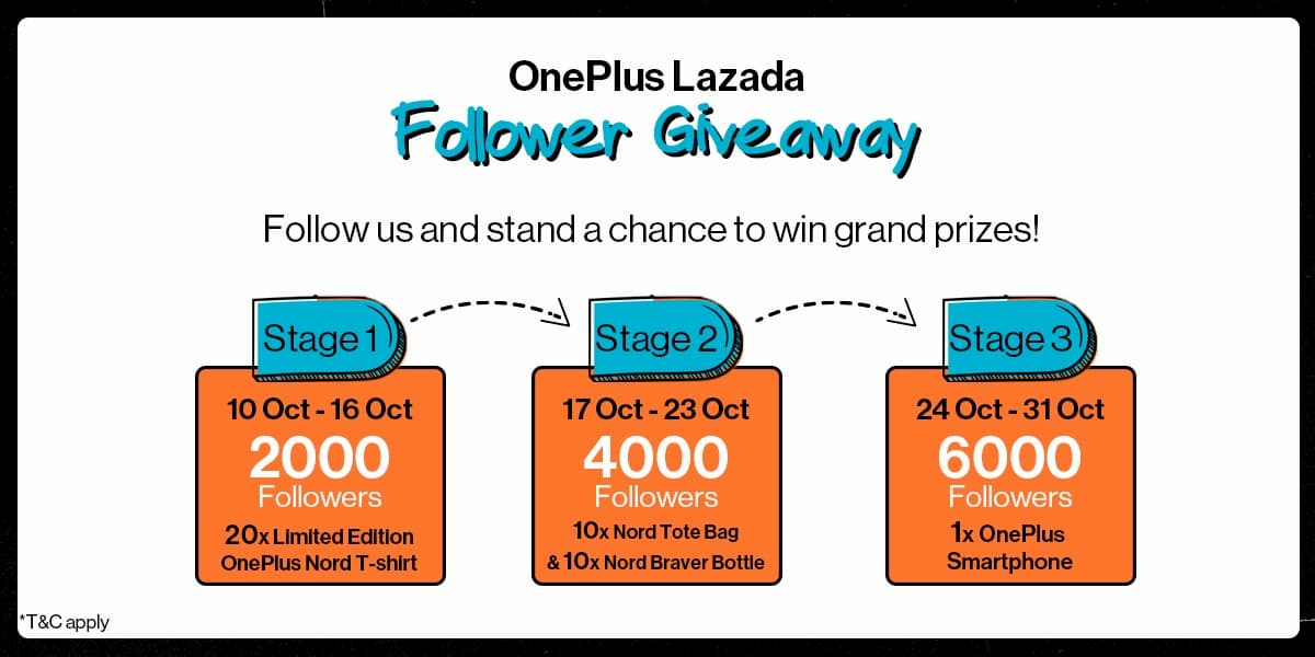 OnePlus Official Store Lazada Follower Giveaway
