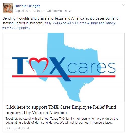 Go Fund Me TMX Finance Family of Companies Hurricane Harvey