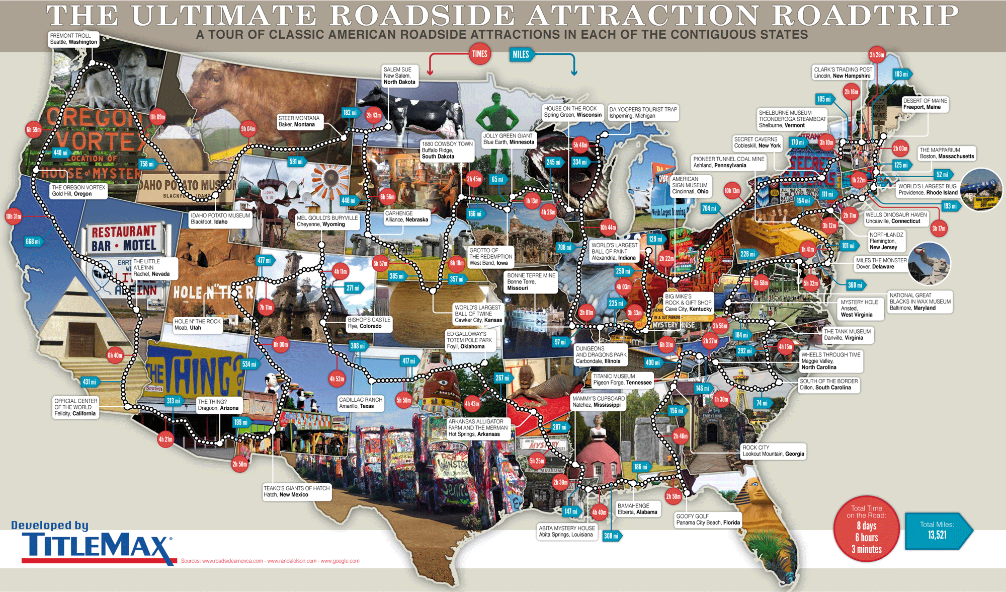 Roadside Attractions Map 79 Weird Roadside Attractions Road Trip[INFOGRAPHIC]   TitleMax