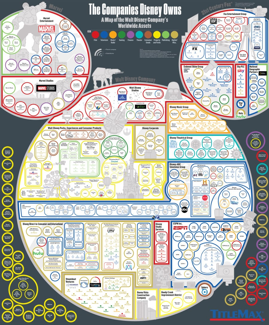 Every Company Disney Owns A Map Of Disney S Worldwide Assets