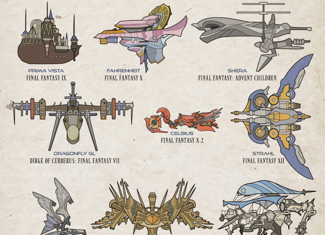 50 Artful Designs of Final Fantasy Video Game Airships [graphic]