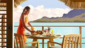 Provide Nick and Jen with a private breakfast brought to their over water bungalow on their honeymoon in Bora Bora.