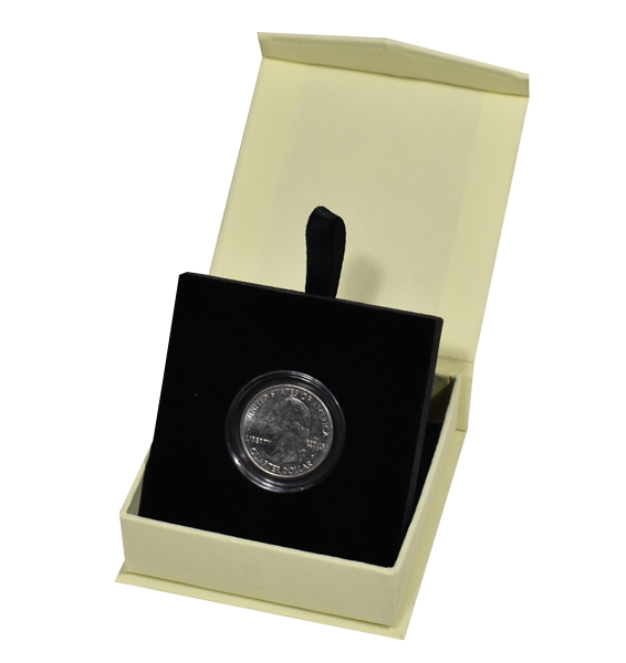 Folding Coin Box with Magnetic Lid /& Stand Insert for Large//H Capsules Burgundy