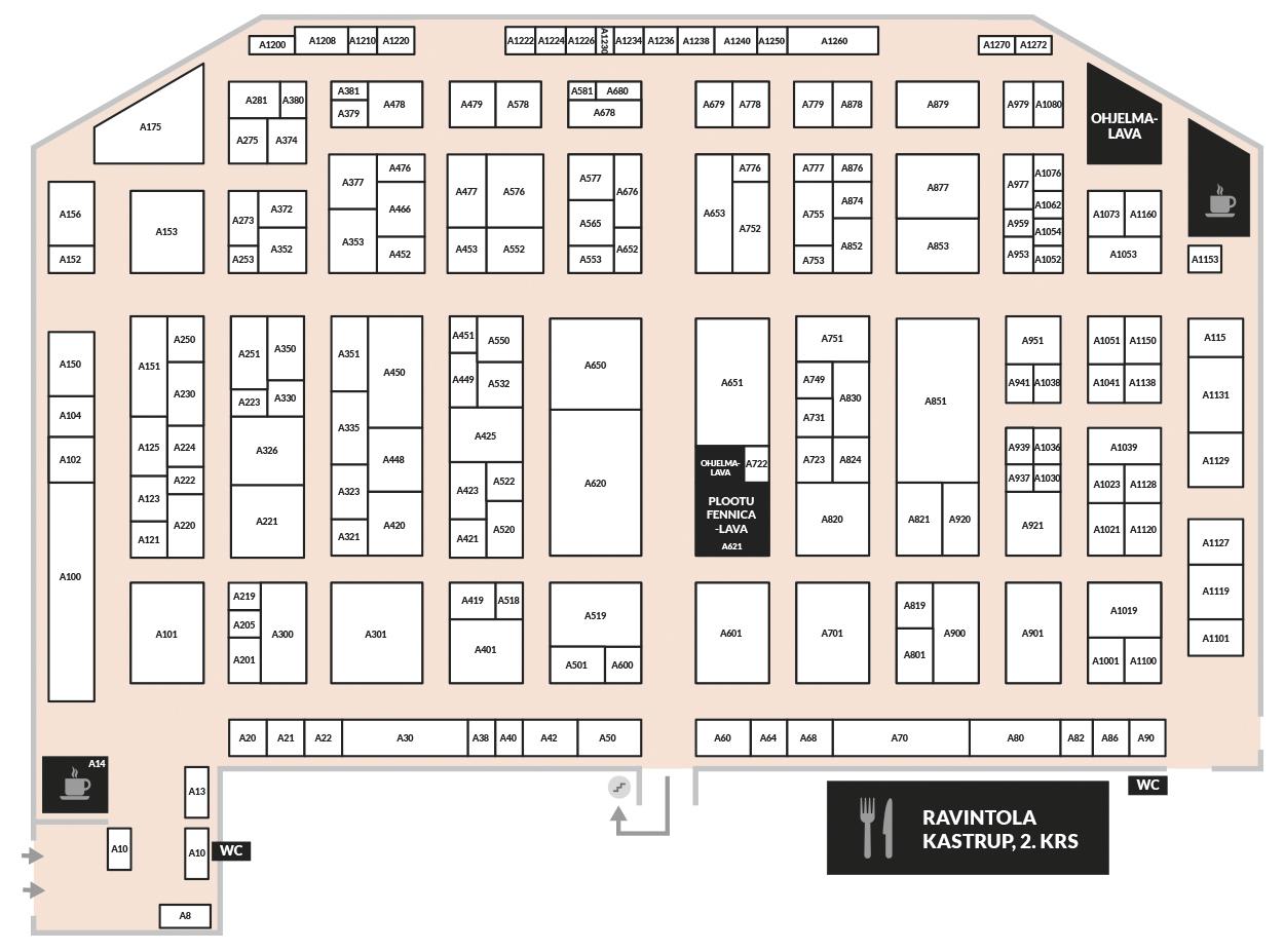 Konepaja- ja Nordic Weldin Expo- tapahtuman A-hallin pohjakartta