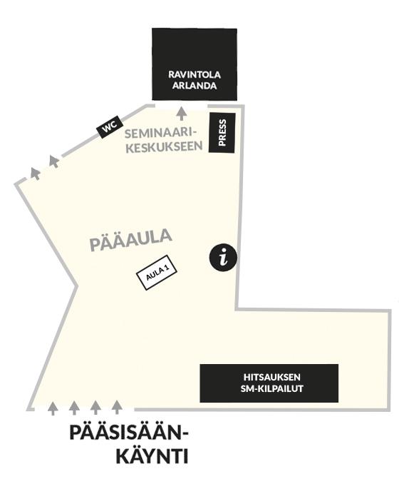 Konepaja- ja Nordic Weldin Expo- ammattimessutapahtuman aulan pohjakartta