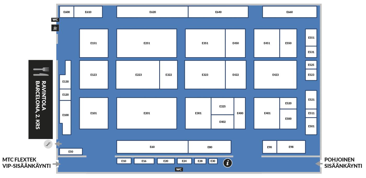 Konepaja- ja Nordic Weldin Expo- ammattimessutapahtuman E-hallin pohjakartta