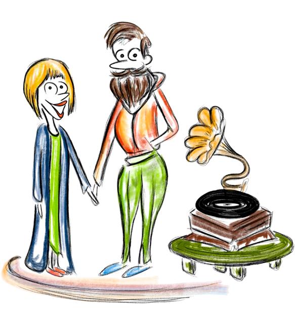 Piirretty Paula-hahmo viherkasvin kanssa