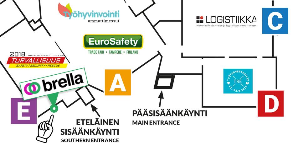Turvallisuusala Tampereella -Brella-kartta
