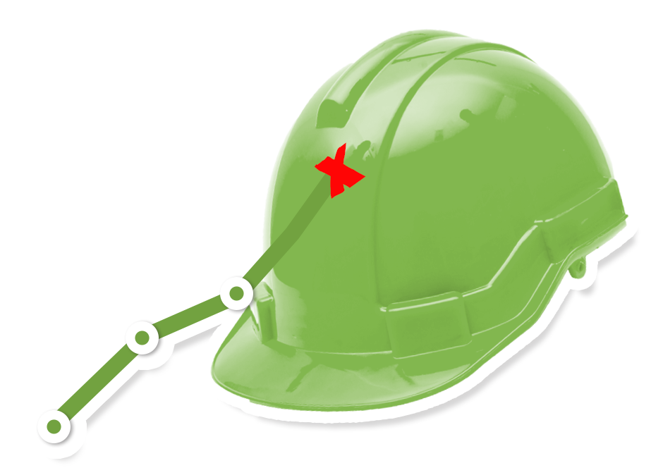 Uusi Teollisuus -messujen työturvallisuus-teeman kuvitus turvakypärä ja nouseva tilastokäyrä