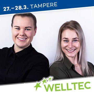 Liikuntapaikka Welltec -messujen puhujat Juulia ja Veera