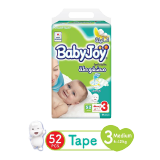Babyjoy Diapers Compressed Diamond Pad Giant Pack Medium 6 - 12 Kg Size 3 - 52 Diapers