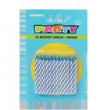 Stripe Spiral Birthday Candles Blue - 24PCS