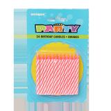 Stripe Spiral Birthday Candles Pink - 24PCS