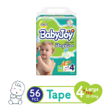 Babyjoy Diapers Compressed Diamond Pad Mega Pack Large 12 - 21 Kg Size 4+ - 56 Diapers