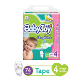 Babyjoy Diapers Compressed Diamond Pad Giant Pack Large 10 - 18 Kg Size 4 - 74 Diapers