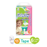 Babyjoy Diapers Compressed Diamond Pad Giant Pack Junior Xxl +16Kg Size 6 - 46 Diapers