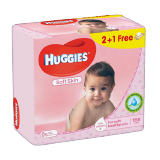 Huggies Baby Wipes Soft Skin 2+1 Free - 168 wipes