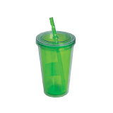 Plastic tumbler with straw - 1 PCS