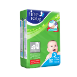 Fine Baby Diapers Medium 4 - 9 Kg Size 3 Jumbo Pack - 52 Diapers
