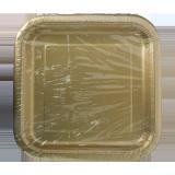 Square Paper Plates Gold - 14PCS