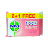 Dettol Antibacterial Skin Care Wipes 2 + 1 - 3X40 Wipes