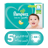 Pampers Baby-Dry Diapers Size 5+ Junior+ 12 - 17 Kg Mega Pack - 44 Count