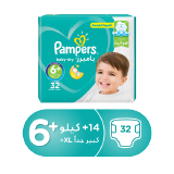 Pampers Baby-Dry Diapers Size 6+ Extra Large+ 14+ Kg Mega Pack - 32 Count