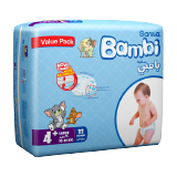 Bambi Diapers Value Pack Large 10 - 18 Kg Size 4+ -  33 Diapers