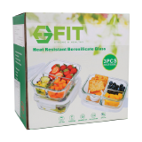 Glass Food Storage with divider - 3 PCS