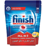 Finish All-in-1 Super Charged Powerball Dishwasher Detergent Tablets Lemon Sparkle - 28 Tablets