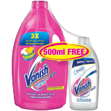 Vanish Pink Fabric Stain Remover Liquid + 500 Ml Free - 3L