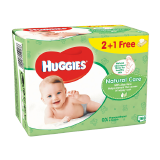 Huggies Baby Wipes Aloe Vera 2+1 Free - 56 x 3 Count
